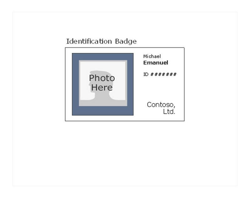 Printable Id Card Template Printable Id Badges