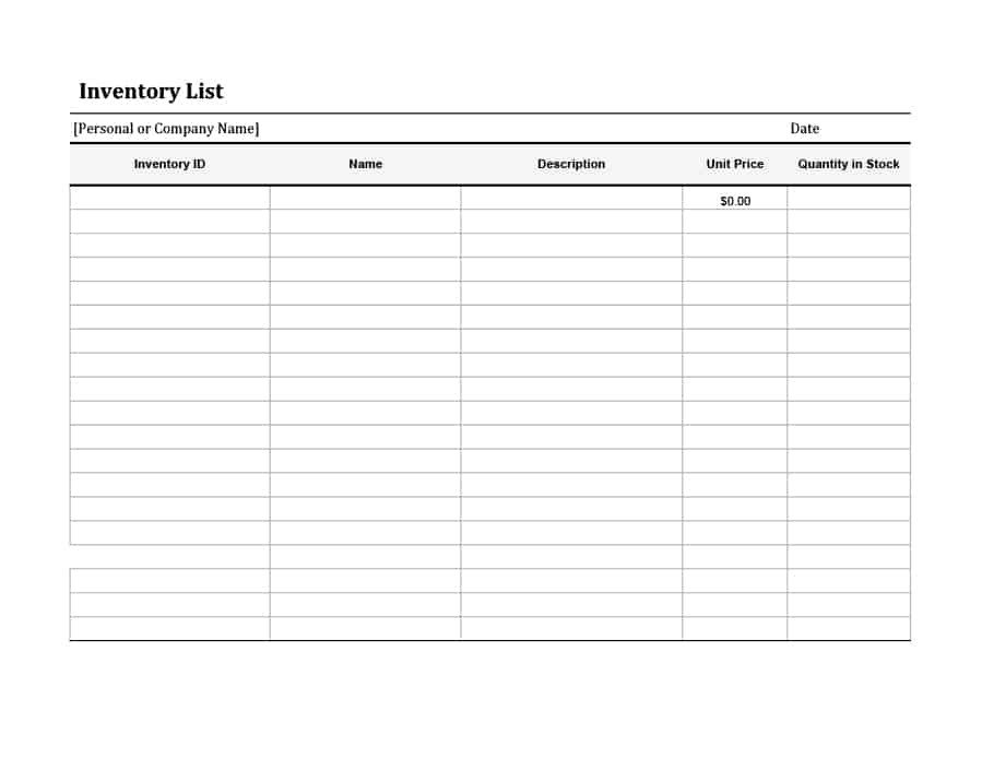 Printable Inventory List Template 45 Printable Inventory List Templates [home Fice