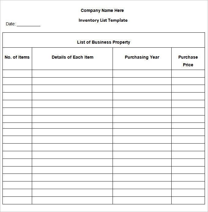 Printable Inventory List Template Blank Inventory Sheets