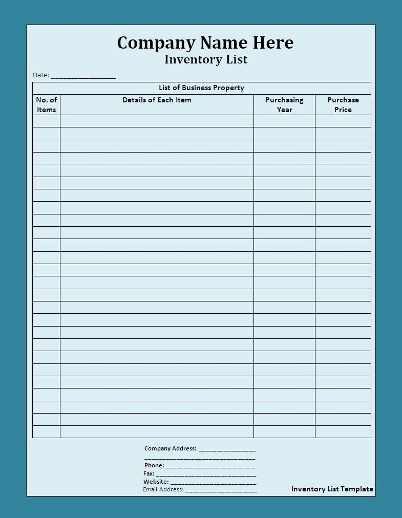 Printable Inventory List Template List Templates