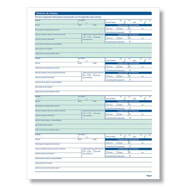 Printable Job Application In Spanish Blank Job Applications In Spanish for Salary Positions