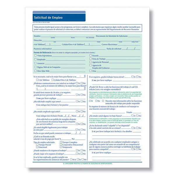 Printable Job Application In Spanish Blank Spanish Employment Application