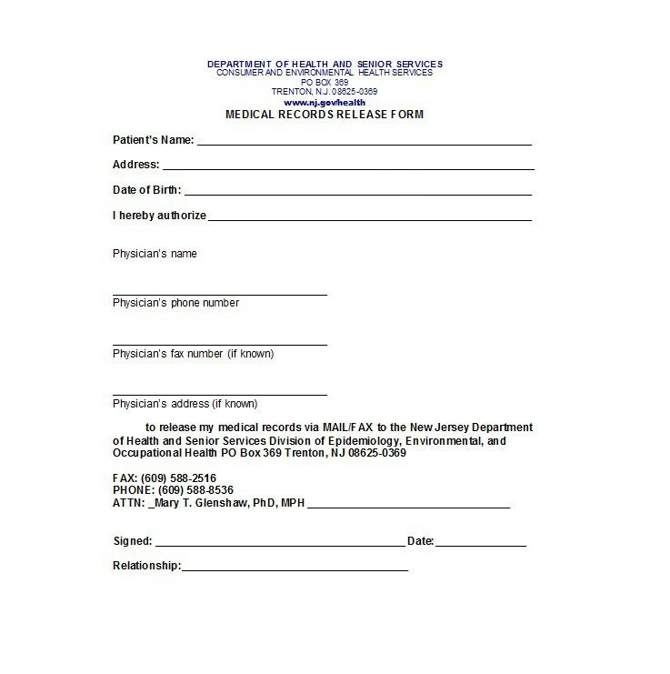 Printable Medical Release form 30 Medical Release form Templates Template Lab