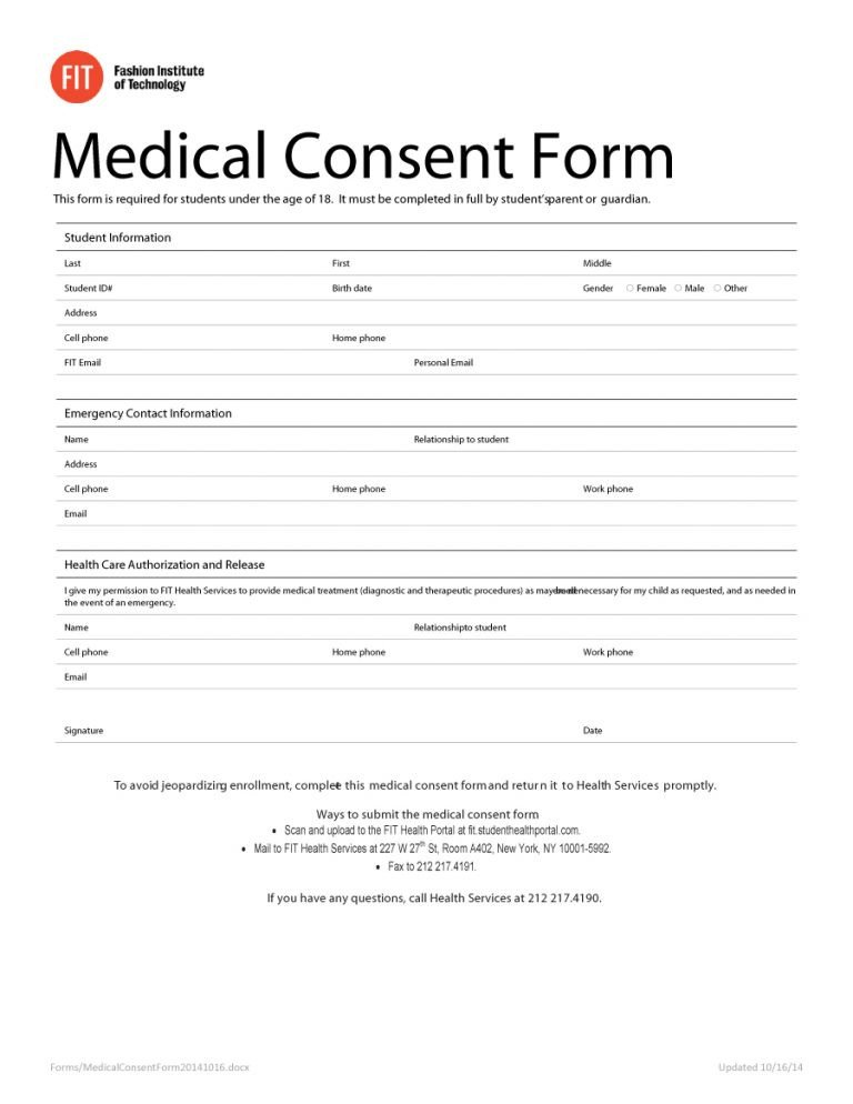 Printable Medical Release form 45 Medical Consent forms Free Printable Templates
