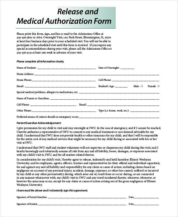 Printable Medical Release form 47 Printable Release form Samples & Templates Pdf Doc