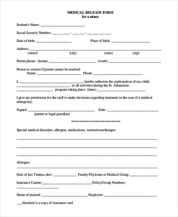 Printable Medical Release form 47 Printable Release form Samples & Templates Pdf Doc