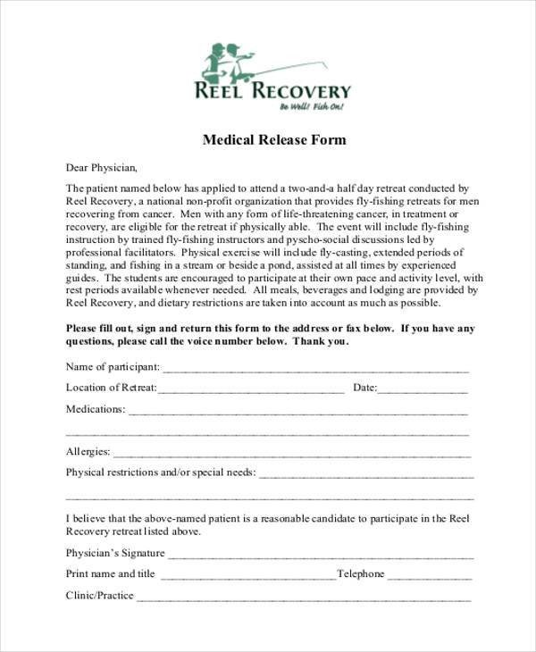 Printable Medical Release form 8 Medical Release form Samples Free Sample Example