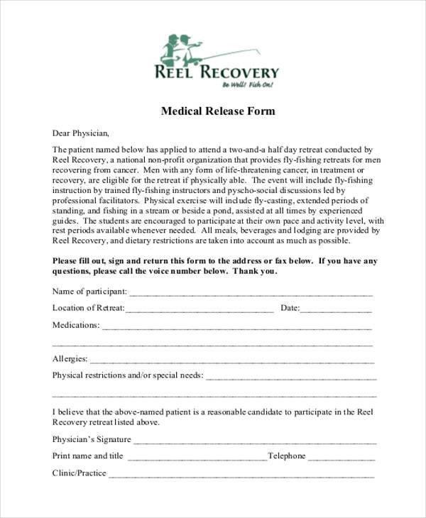 Printable Medical Release form 8 Medical Release form Samples Free Sample Example