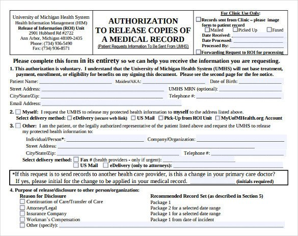 Printable Medical Release form Generic Medical Records Release form 7 Download Free