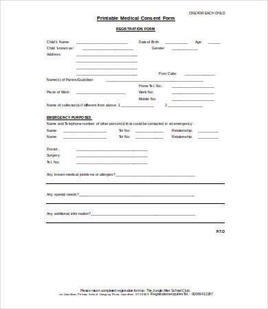 Printable Medical Release form Medical Consent form 9 Free Pdf Word Documents