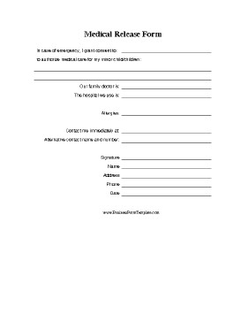 Printable Medical Release form Medical Release form for Minor Template