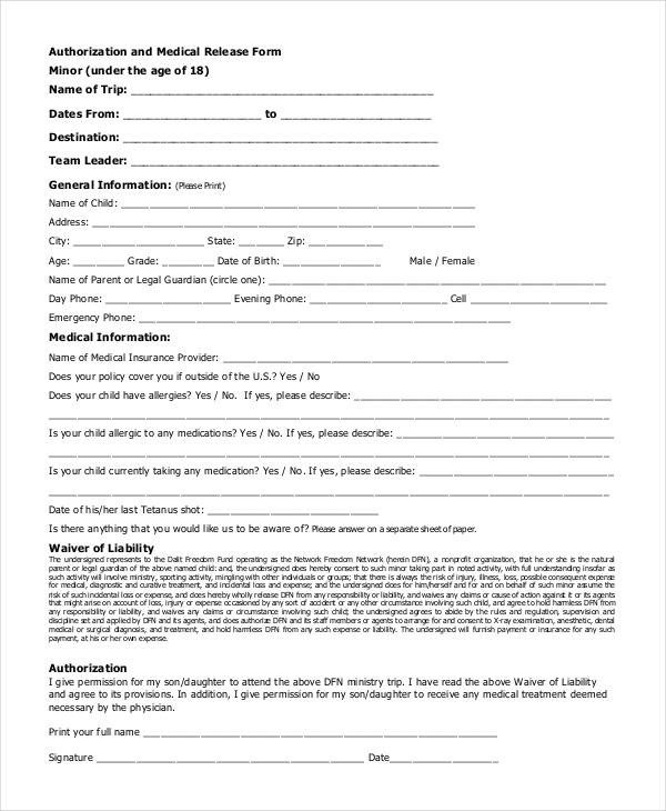 Printable Medical Release form Medical Release forms