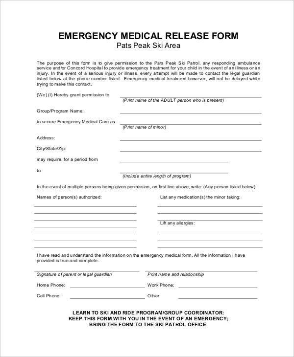 Printable Medical Release form Medical Release forms