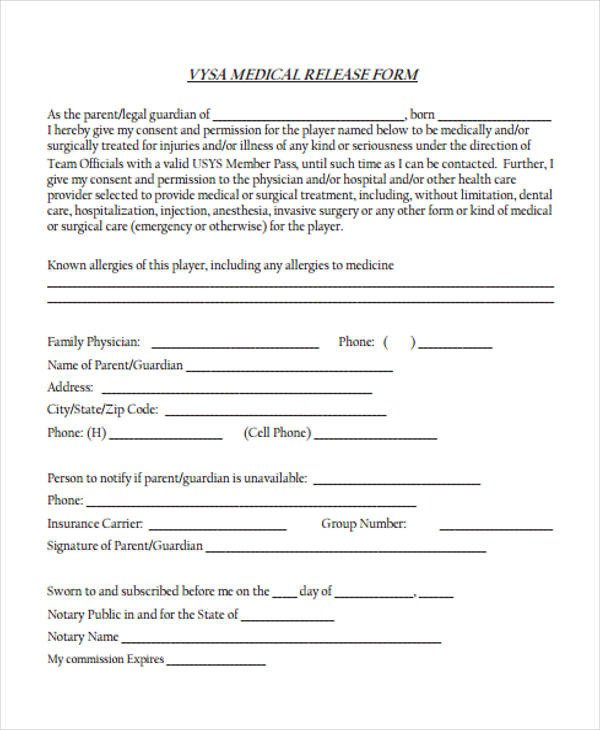 Printable Medical Release form Patient Release form Template