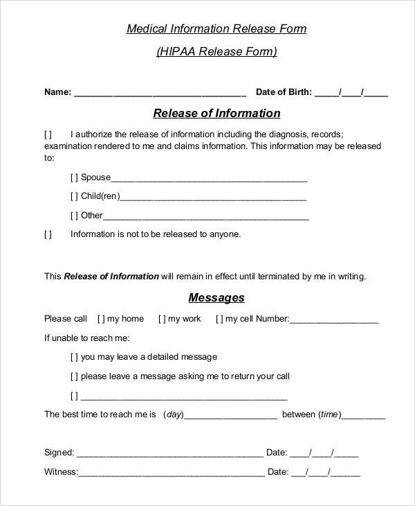 Printable Medical Release form Printable Medical forms