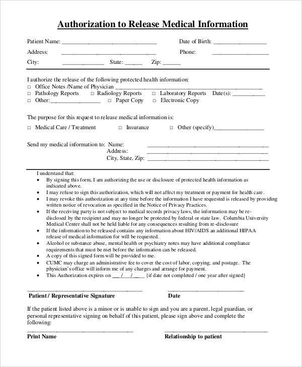 Printable Medical Release form Printable Medical forms