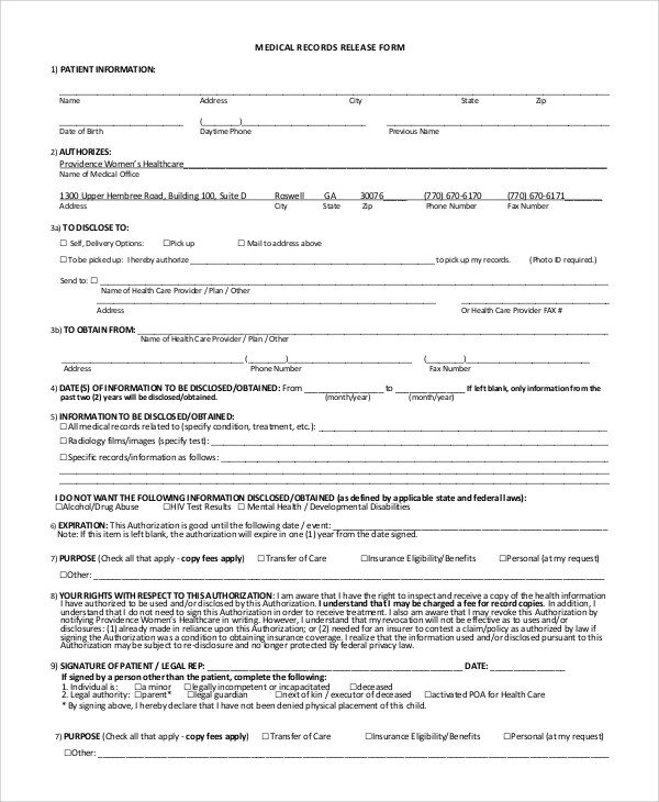 Printable Medical Release form Sample Medical Records Release form 9 Examples In Pdf Word