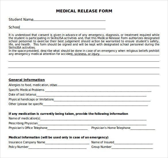 Printable Medical Release form Sample Medical Release form 10 Free Documents In Pdf Word