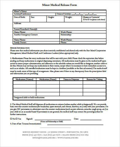 Printable Medical Release form Sample Medical Release form for Minor 7 Examples In