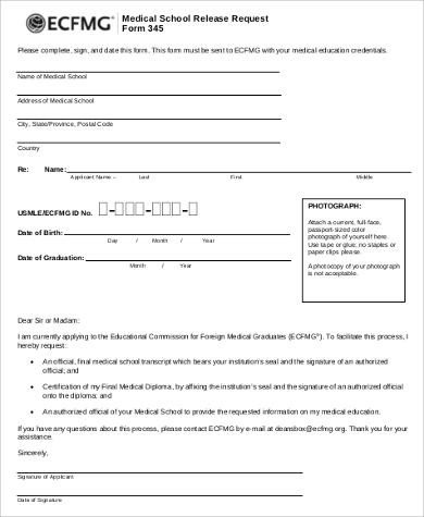 Printable Medical Release form Sample Print Release form 8 Examples In Word Pdf