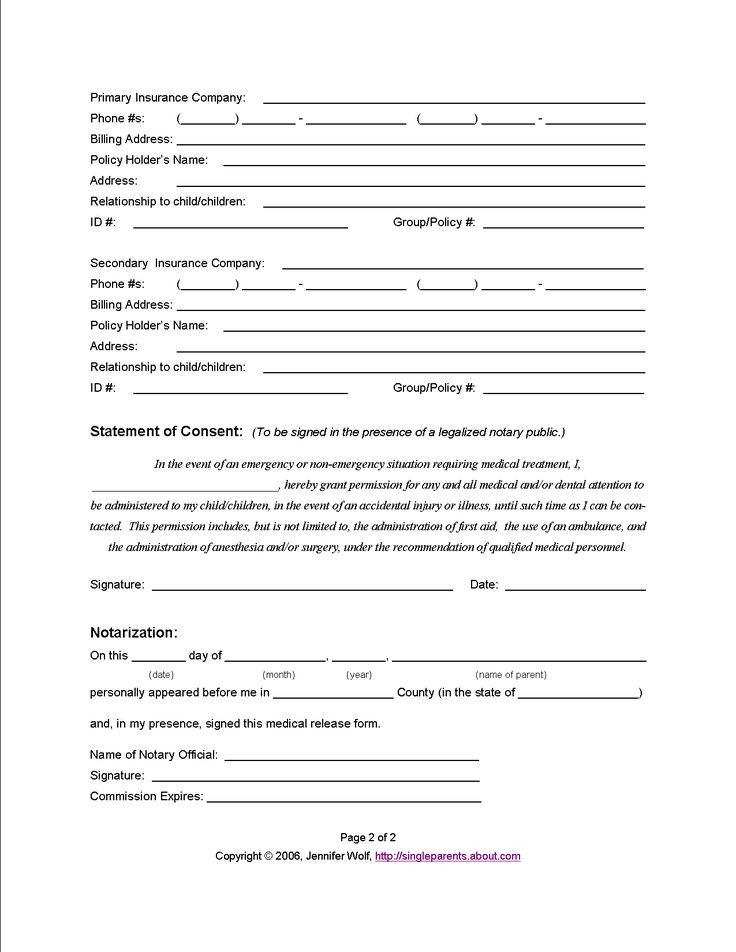 Printable Medical Release form Use This Medical Release form to Protect Your Kids In An