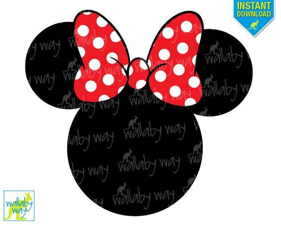 Printable Minnie Mouse Bow Minnie Mouse Head Red Bow Printable Iron Transfer or Use as