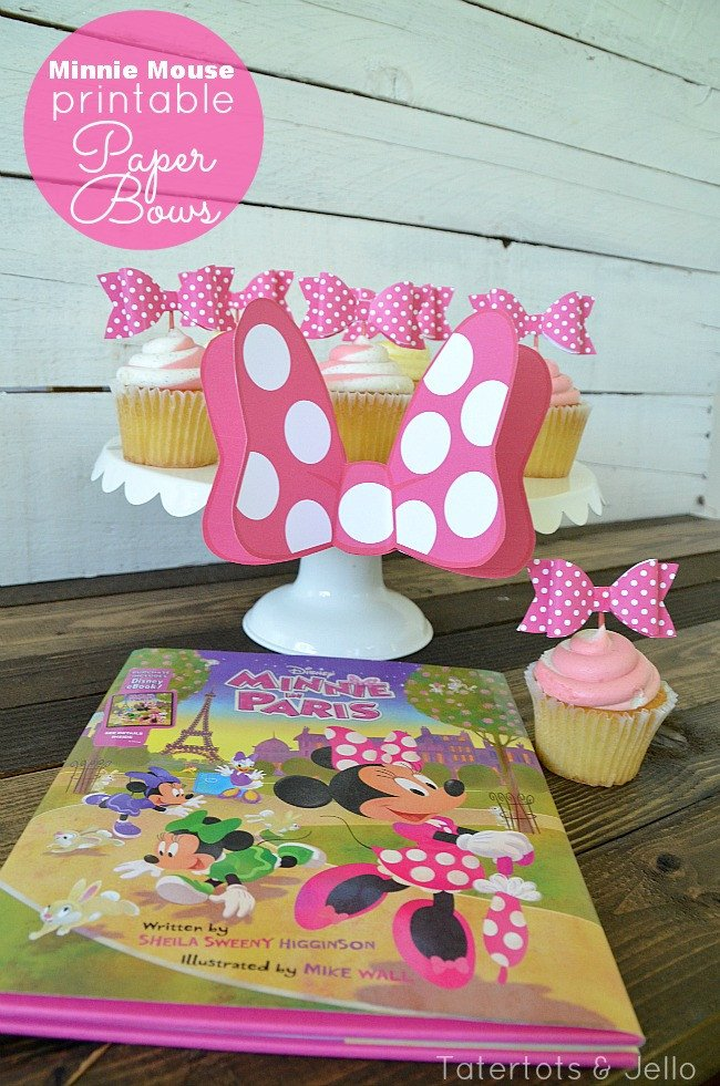 Printable Minnie Mouse Bows Free 3 D Bow Cupcake topper Printables