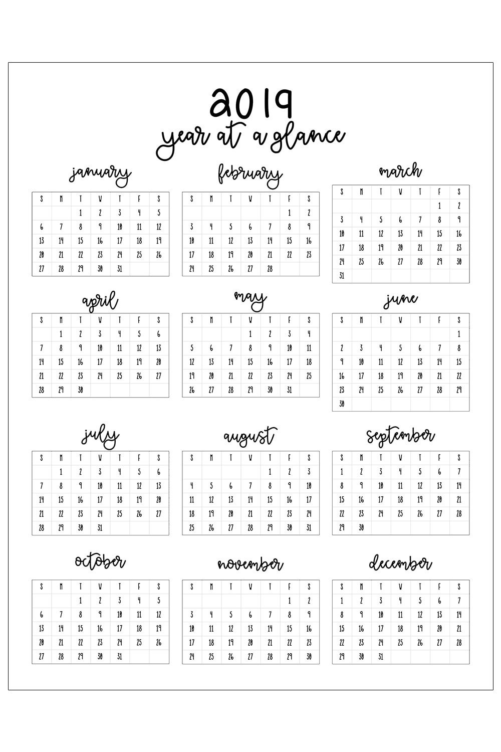 Printable Monthly Calendar Template 2019 Printable Calendar