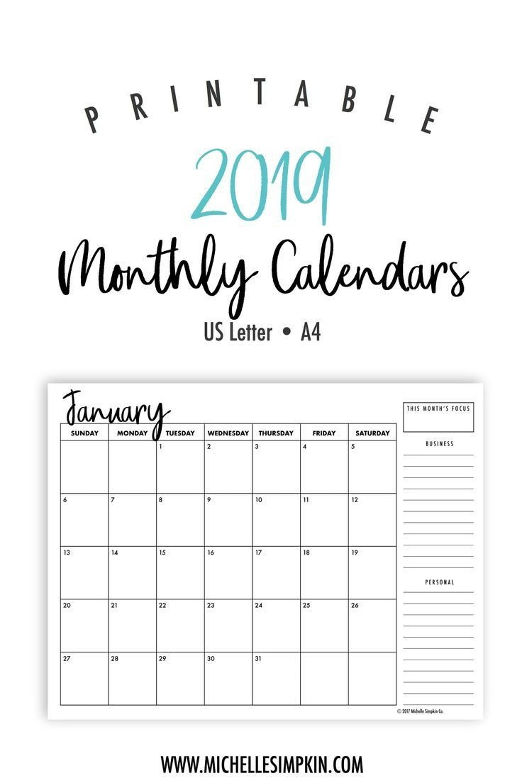 Printable Monthly Calendar Template 2019 Printable Monthly Calendars • Landscape • Us Letter