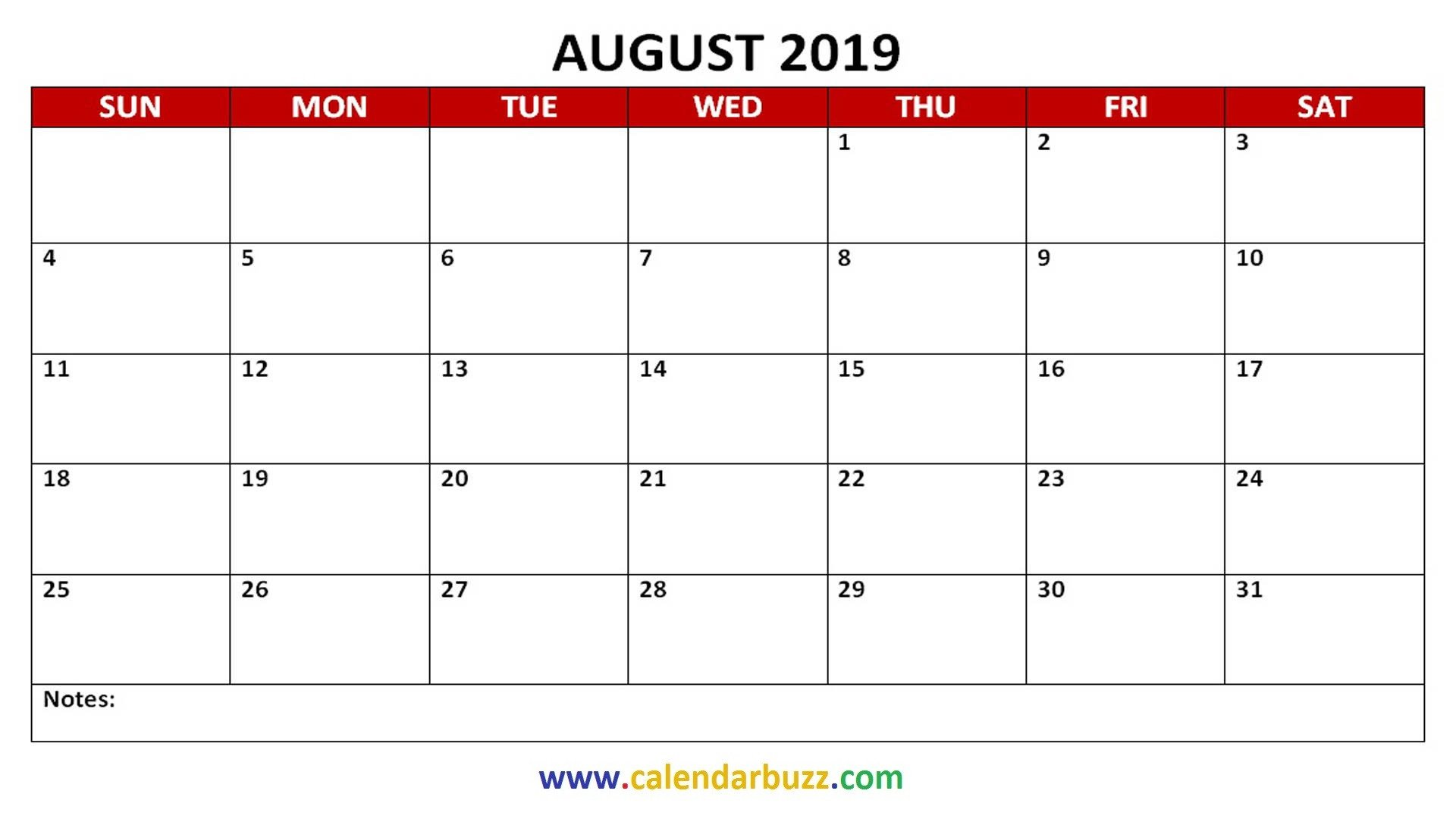 Printable Monthly Calendar Template Free 2019 Pdf Printable Calendar Monthly
