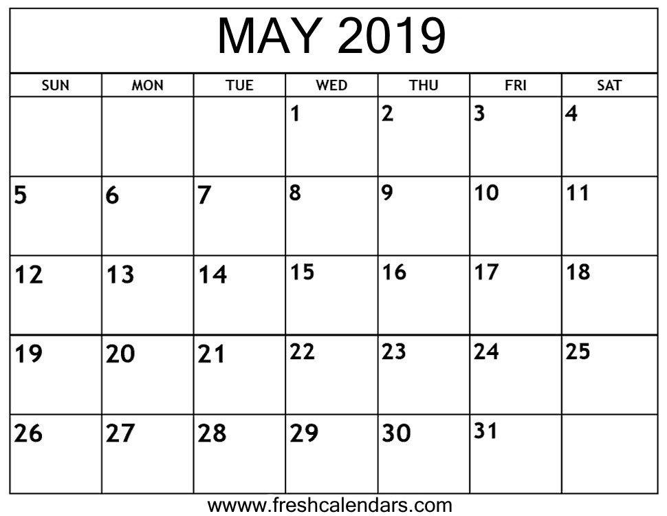 Printable Monthly Calendar Template May 2019 Calendar Printable Fresh Calendars