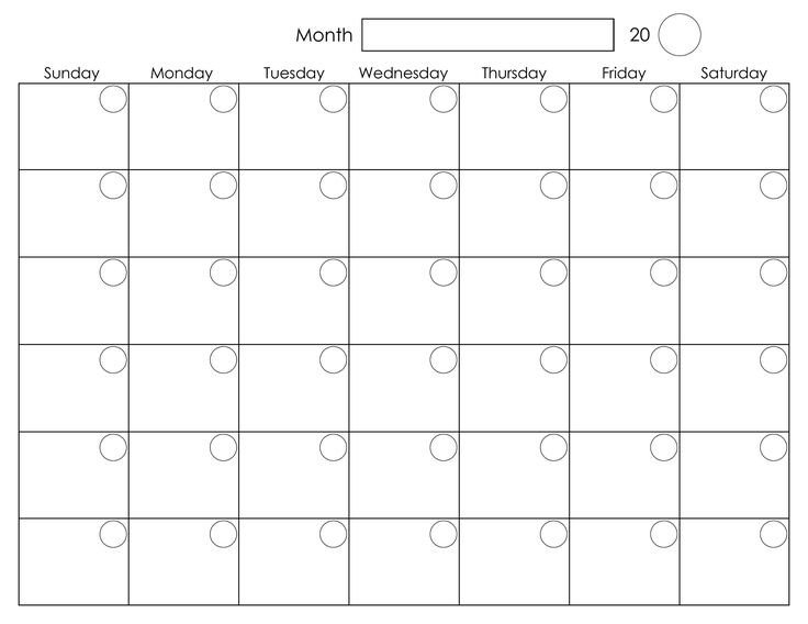 Printable Monthly Calendar Template Printable Blank Monthly Calendar