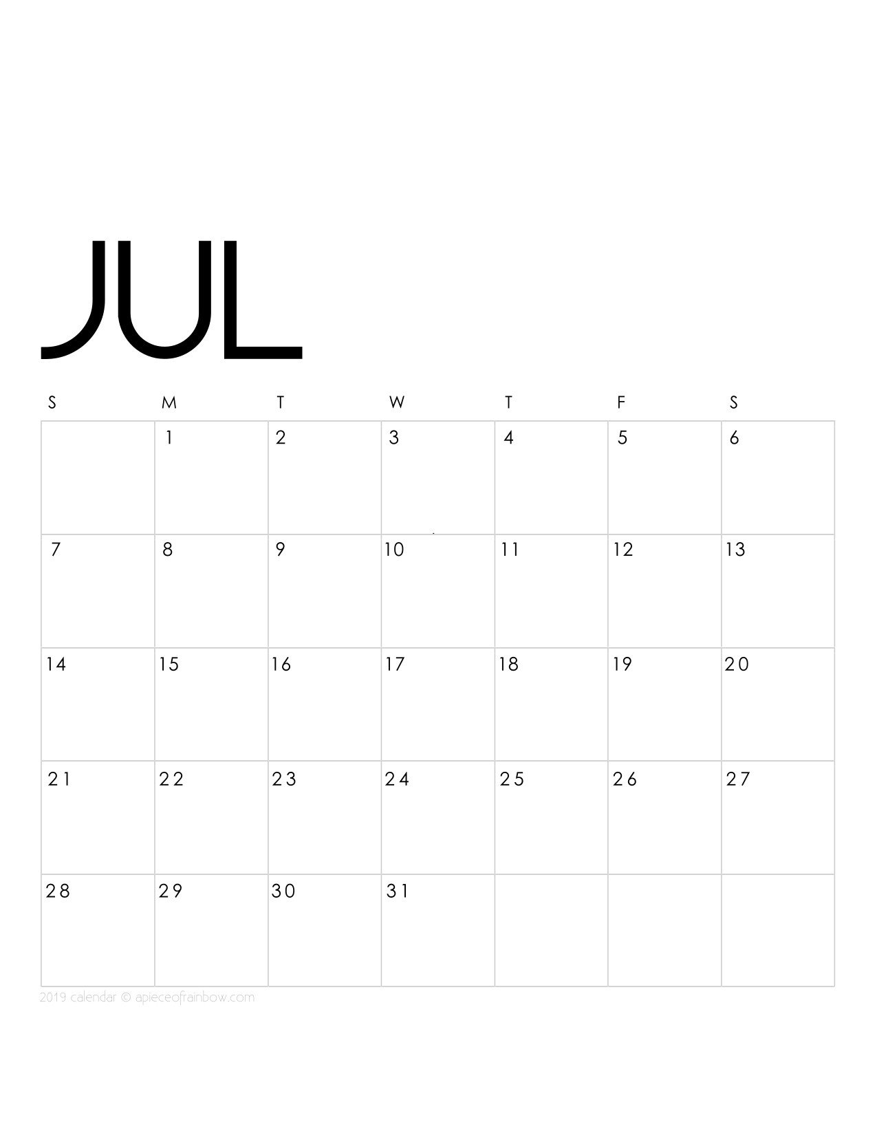 Printable Monthly Calendar Template Printable July 2019 Calendar Monthly Planner 2 Designs