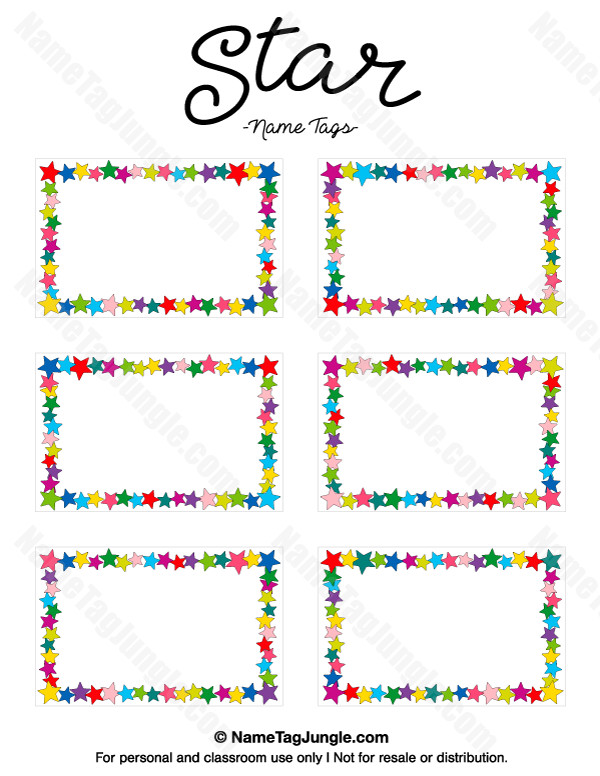Printable Name Tag Template Free Printable Star Name Tags the Template Can Also Be