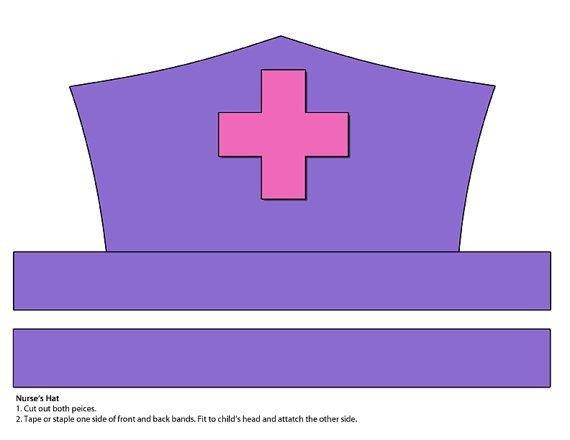 Printable Nurse Hat Template Digital Download Purple and Pink Nurse S Hat Printable