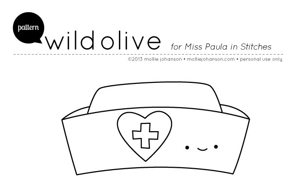 Printable Nurse Hat Template Wild Olive Pattern Nurse Hat and A Blessing