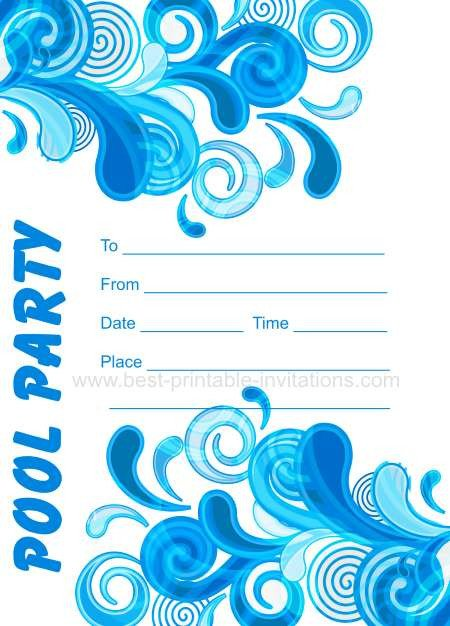 Printable Pool Party Invitations Adult Pool Party Invitations