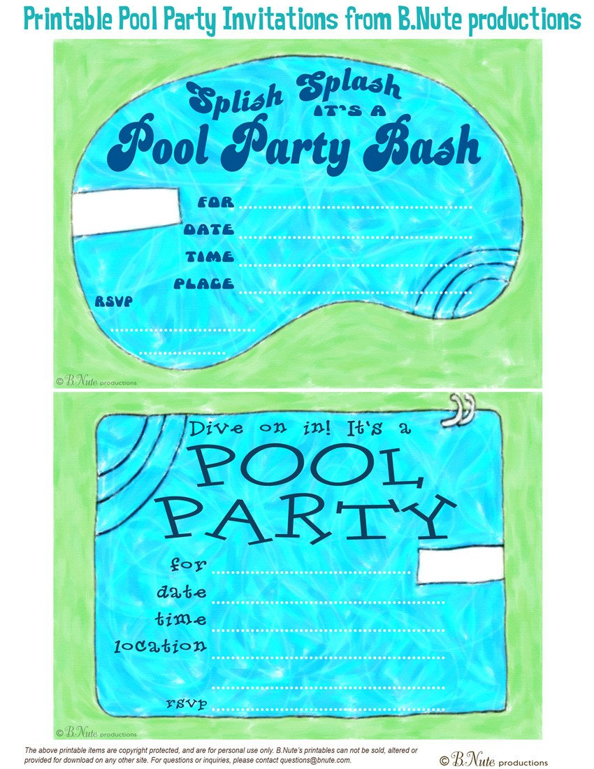 Printable Pool Party Invitations Bnute Productions Free Printable Pool Party Invitations