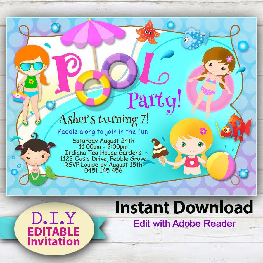 Printable Pool Party Invitations Editable Printable Pool Party Invitation Cute Party