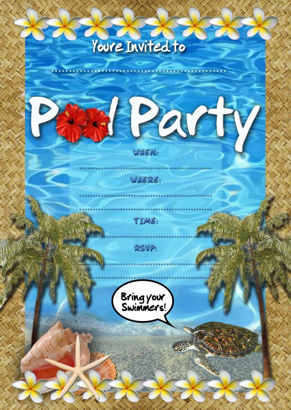 Printable Pool Party Invitations Free Kids Party Invitations Pool Party Invitation