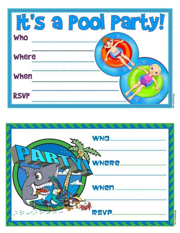 "Printable Pool Party Invitations Free Printable ""pool Party"" Invites"