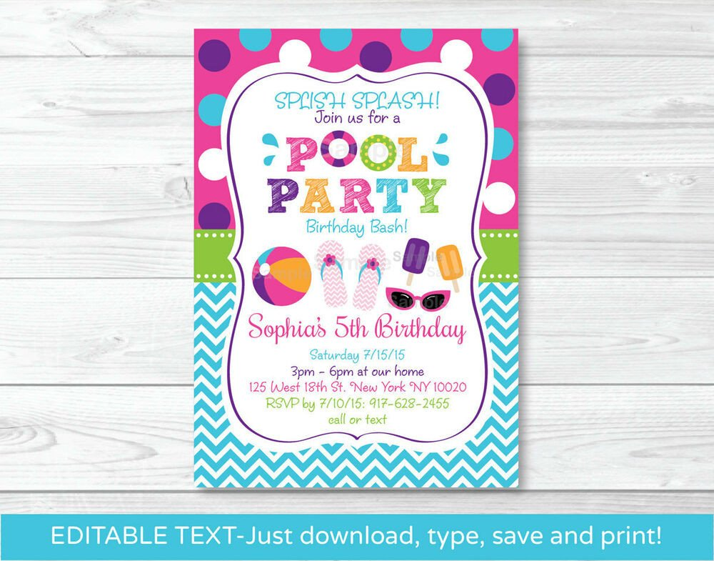 Printable Pool Party Invitations Girls Pool Party Printable Birthday Invitation Editable