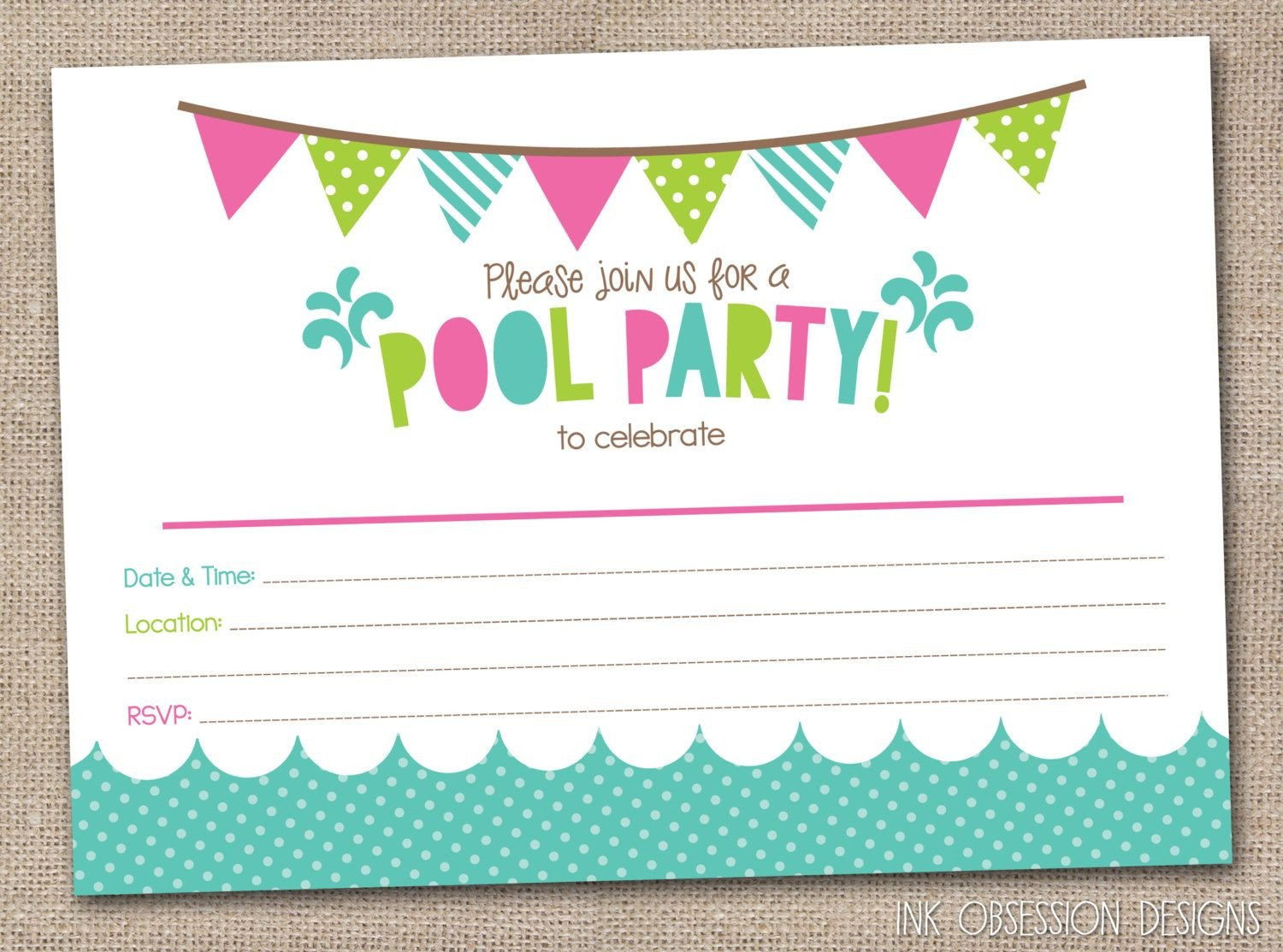 Printable Pool Party Invitations Girls Pool Party Printable Invitation Fill by