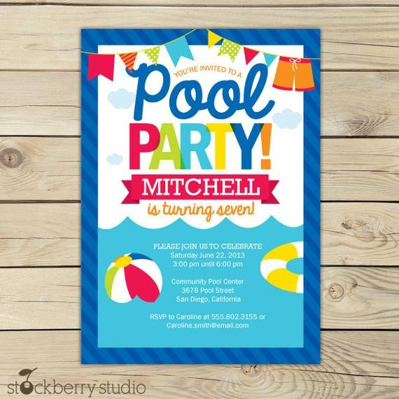 Printable Pool Party Invitations Pool Party Birthday Invitation Printable Pool Party Beach