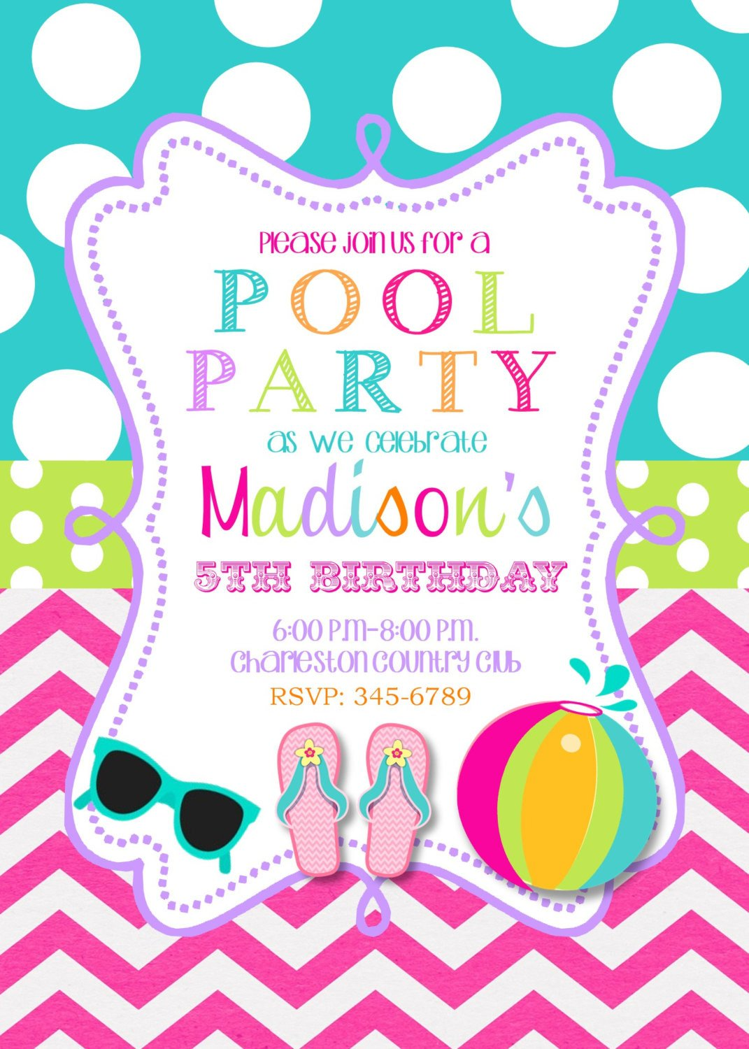 Printable Pool Party Invitations Pool Party Birthday Party Invitations Printable or Digital