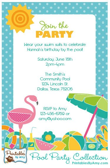 Printable Pool Party Invitations Pool Party Collection Printables