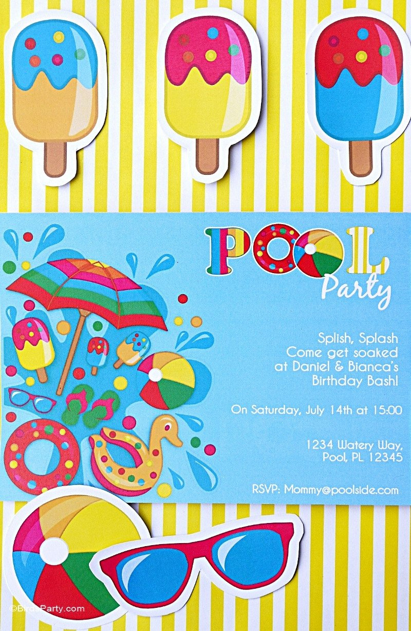 Printable Pool Party Invitations Pool Party Ideas & Kids Summer Printables Party Ideas