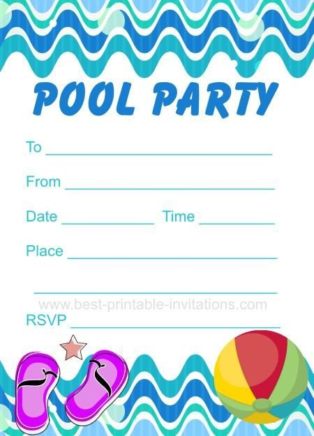 Printable Pool Party Invitations Pool Party Invitation Free Printable Party Invites From