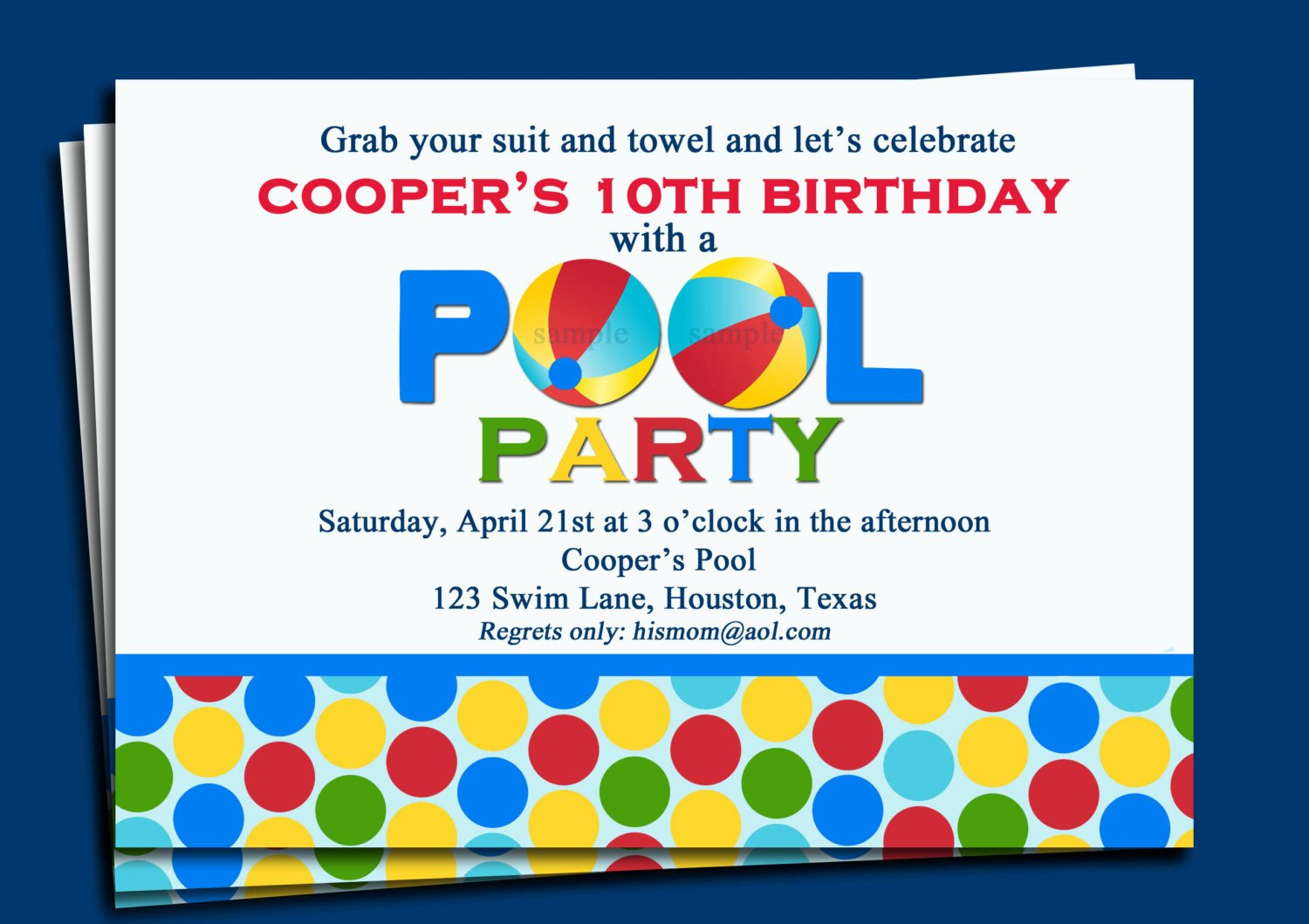 Printable Pool Party Invitations Pool Party Invitation Printable or Printed with Free Shipping
