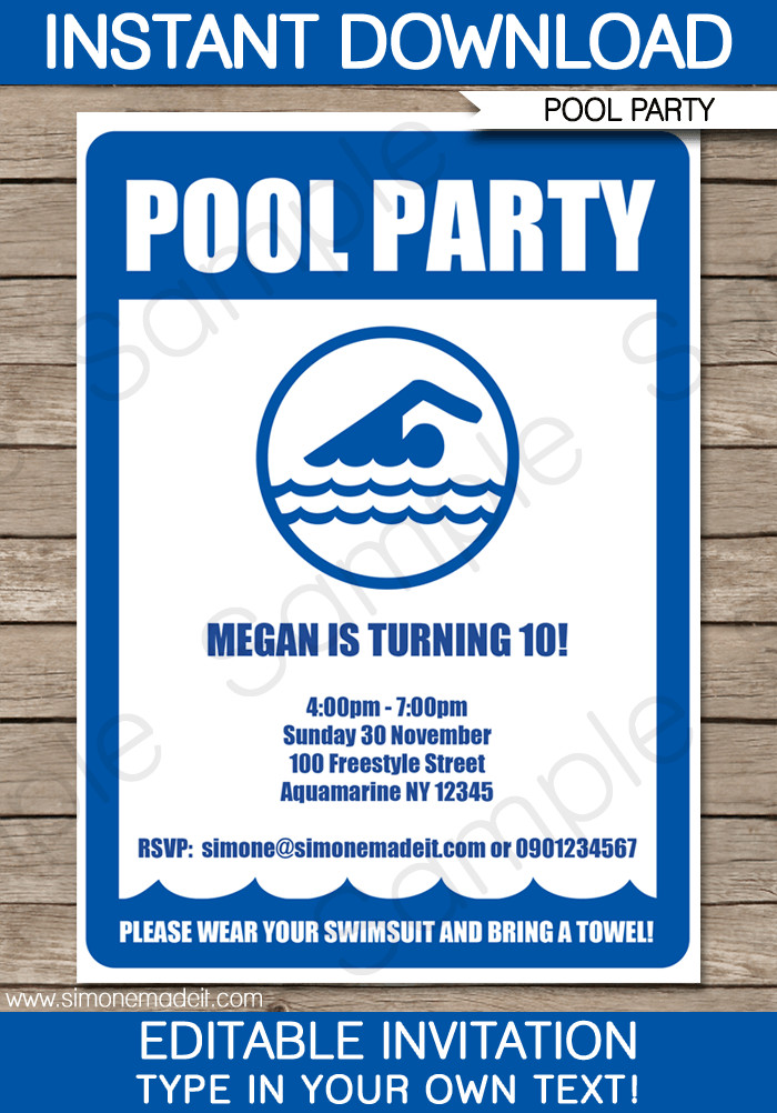 Printable Pool Party Invitations Pool Party Invitations Birthday Party
